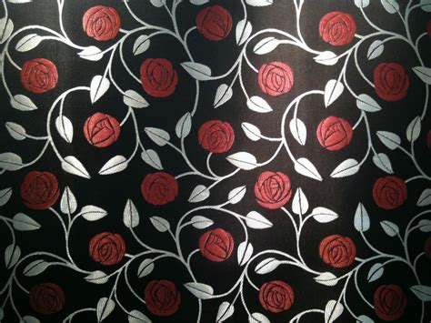 Rennie Mackintosh Style Black Curtain Fabric Material Ebay