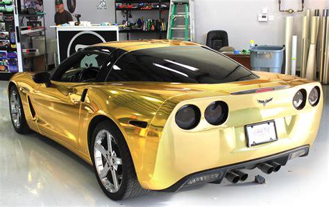 gold corvette gold chrome wrap corvette fort worth zilla wraps