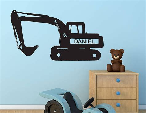 digger wall stickers personalised digger vinyl wall sticker contemporary wall stickers