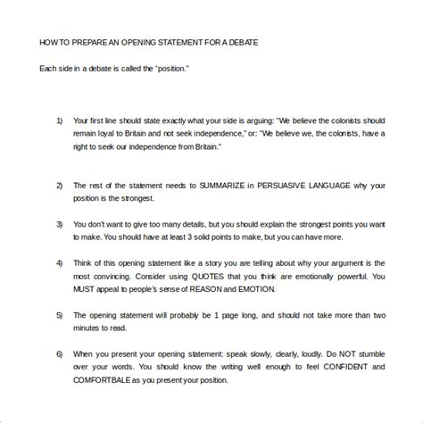 Debate Briefformat Sle Opening Statement Template 9 Free Documents In Pdf Word