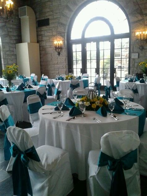 yellow and teal wedding reception centerpieces my