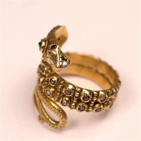 gold sapphire and emerald snake ring at 1stdibs