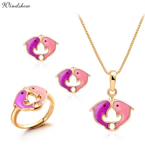 Kalung Dolphin Gold aliexpress buy yellow gold plated pink