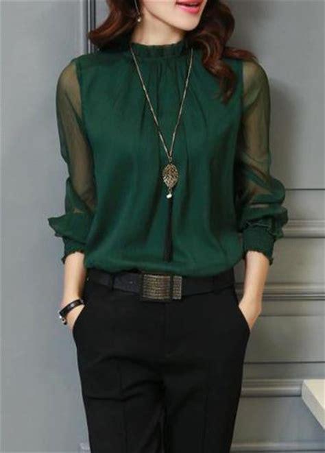 lantern sleeve deep green chiffon blouse modlily com