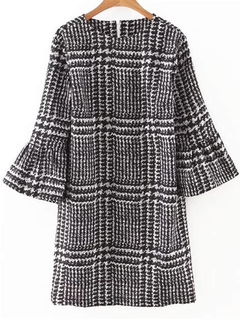 Gp Bellsleeve Dress Series 2 houndstooth print bell sleeve dress shein sheinside