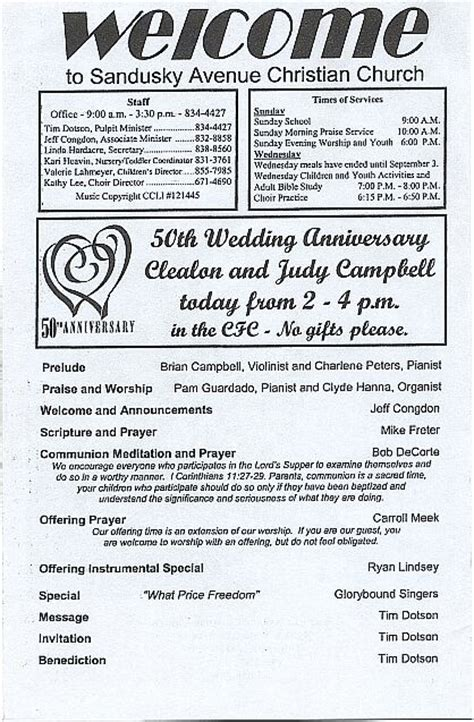 Clealon and Judy Campbell's 50th Wedding Anniversary