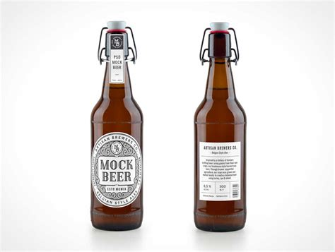 swing top beer bottle 6 8 psd mockups