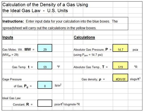 Excel Spreadsheet Calculations by Density Of Air Archives Low Cost Easy To Use