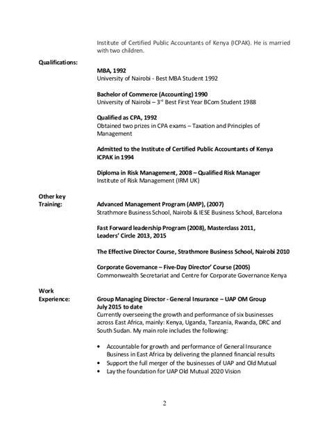 Uon Mba Application Form by Wambugu Cv Updated Jan 2015
