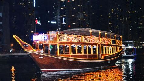 boat cruise in dubai dinner in dhow cruise at exotic dubai marina by saifco