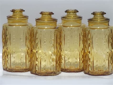 vintage glass canisters kitchen vintage amber glass tall canisters kitchen canister jars