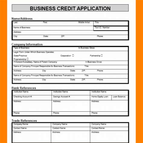 credit application template credit application template business form template html