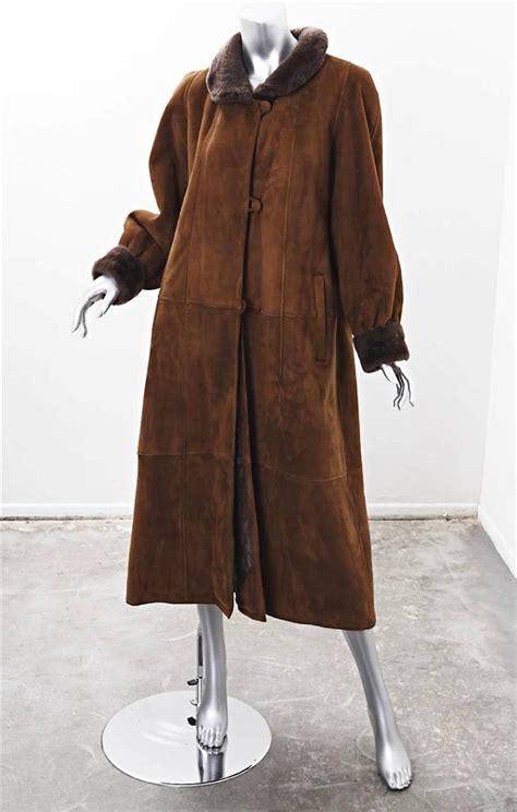 swing car coat karl lagerfeld womens brown leather shearling long swing