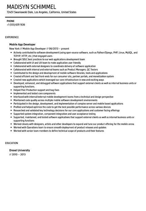 mobile application developer resume sle velvet