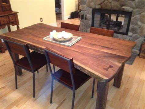 edge walnut slab dining table contemporary