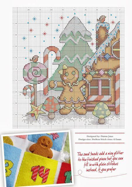 Kristik Cross Stitch Pemandangan Musim Dingin Winter gingerbread gingerbread houses and on