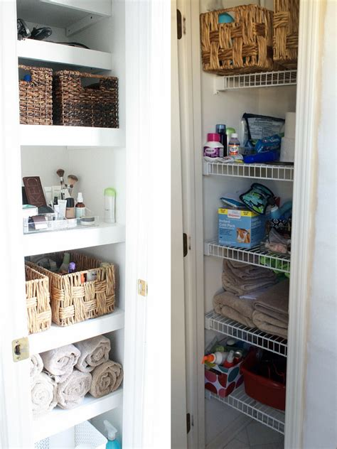 how to organize bathroom closet bathroom linen closet organization diy