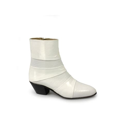 mens cuban heeled boots mens cuban heel leather boots white made by