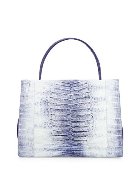 Nancy Gonzalez Latticework Crocodile Tote by Nancy Gonzalez Wallis Tie Dye Crocodile Tote Bag Blue Multi