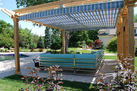 pergola with awning retractable pergola canopy in oakville shadefx canopies