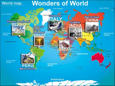 7 world map seven wonders of the world map www pixshark images