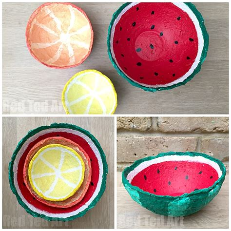 Paper Mache Crafts For Preschoolers - papier mache summer fruit bowls ted s