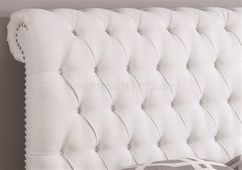 white upholstered bed devon 300526 upholstered bed in white fabric by coaster
