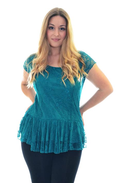 new womens lace top plus size lined peplum style