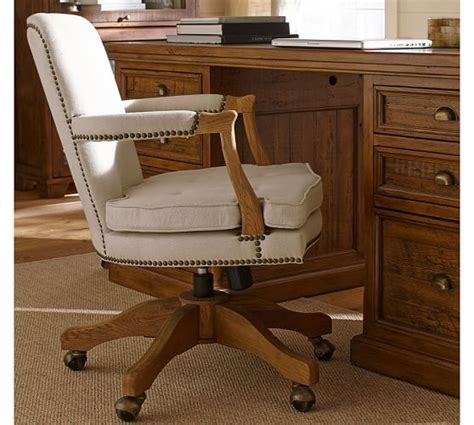 upholstered swivel desk chair brock upholstered swivel desk chair pottery barn