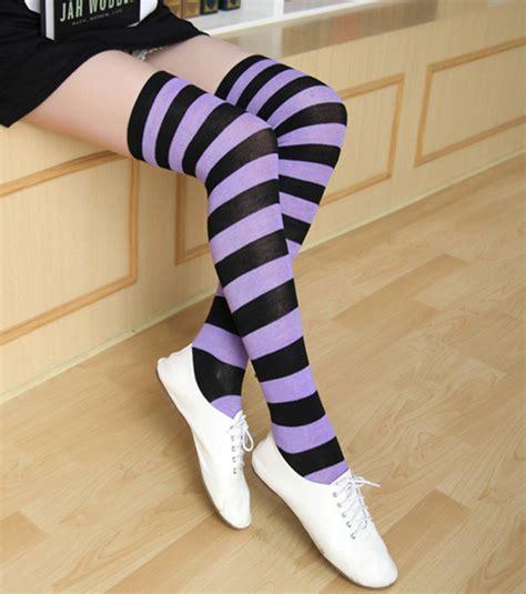 zebra pattern socks sexy women girls cotton over the knee zebra pattern socks
