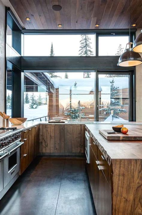 rustic contemporary kitchen modern rustic wood cabin vacation home interior design