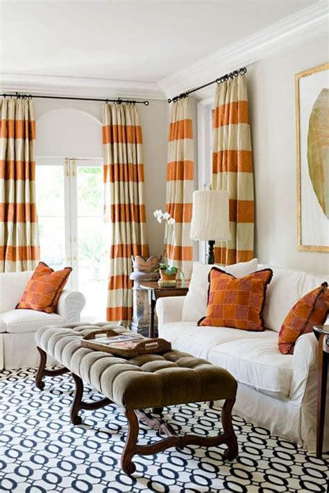 orange striped curtains adorn the interiors with striped curtains decozilla
