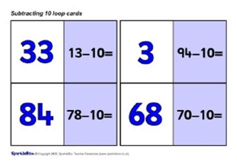 loop cards template primary school subtraction activities and resources