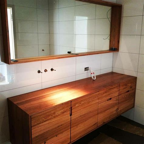 Timber Bathroom Vanities by This Timber Vanity And Mirror Bathroom Renovation