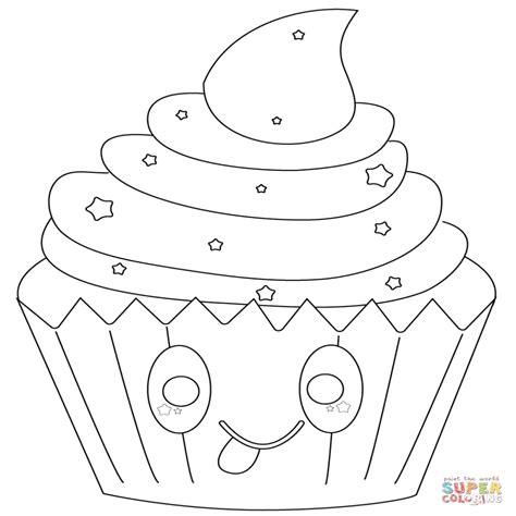 imagenes kawaii para pintar dibujo de cupcake con estrellas kawaii para colorear