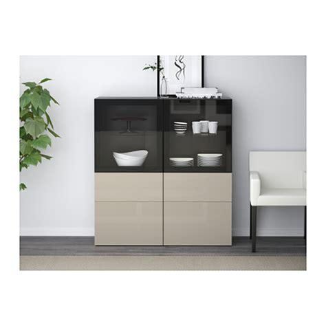 Besta Ikea Vitrine by Best 197 Storage Combination W Glass Doors Black Brown