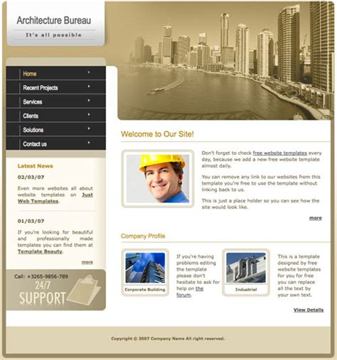 templates for architecture website architecture template free website templates