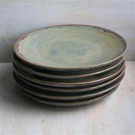 Handmade Pottery Dishes - ceramic dinnerware rustic green plates handmade set of six