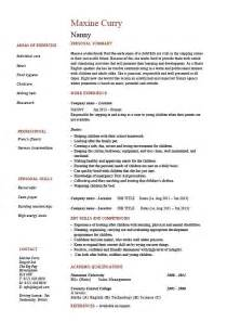 Sample Resume For Nanny Position resume for nanny position best resume gallery
