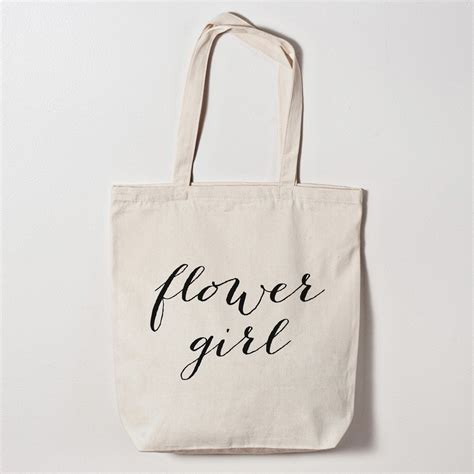 Tote Bag The Flower flower calligraphy tote bag wedding bags