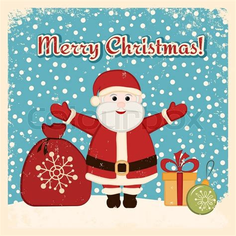 retro christmas card  happy santa claus bag bauble  gift stock vector colourbox
