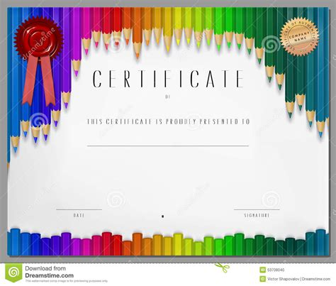 colorful certificate template gift certificate diploma coupon award of course