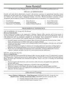 administrative resume templates exle director of administration resume free sle