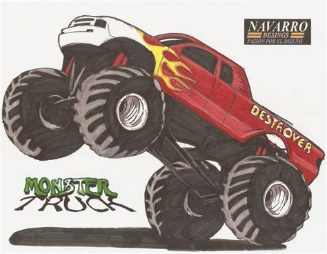 monster trucks drawings monster truck drawing images frompo 1