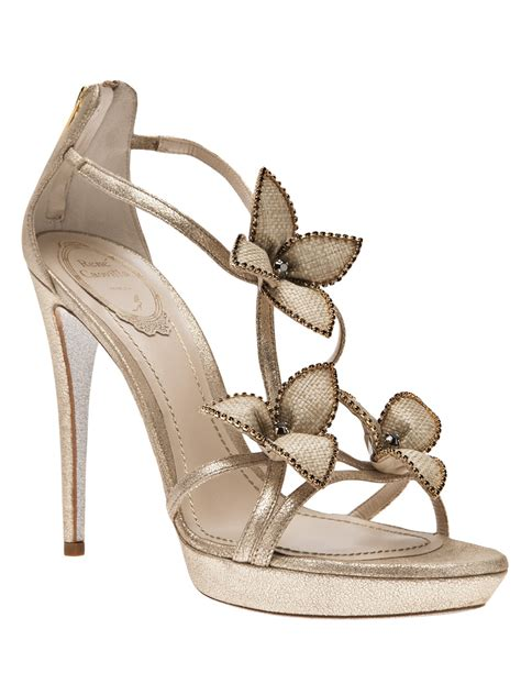sandals shows rene caovilla platform sandal in beige lyst