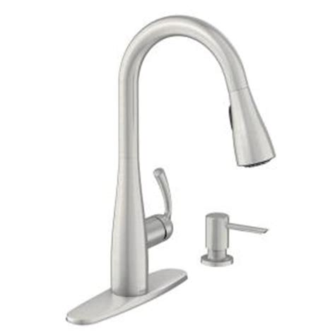 home depot kitchen faucets moen moen essie single handle pull sprayer kitchen faucet with reflex and power clean in spot