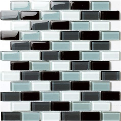 Tile Gg Glossy Black Blend With Grayscale Glass Brick Mosaic Tile