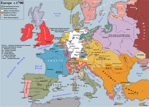 map us during 1700s europe before the war of the succession 1700