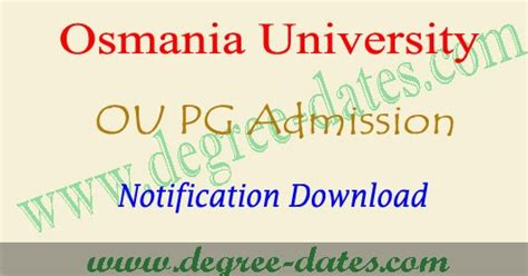 Ou Distance Mba Notification 2017 by Ou Pgcet Notification 2017 Apply Oucet 2017 2018 Pg