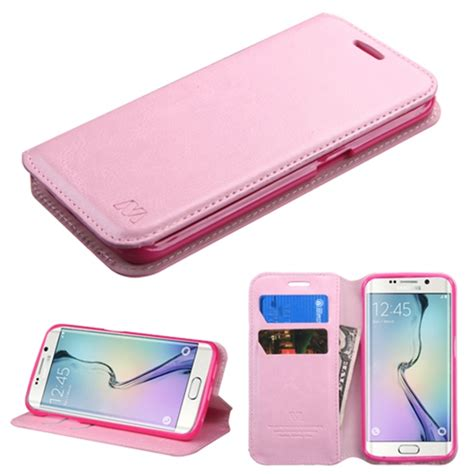 Zagbox Flip Cover Samsung Galaxy S6 Edge Pink executive pink faux leather samsung galaxy s6 edge flip cover wallet phone
